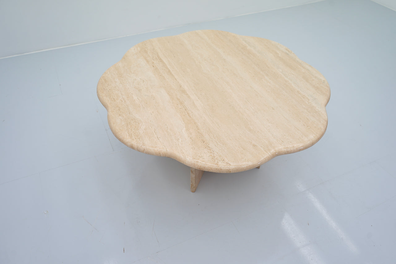 Flower Travertine Coffee Table in Italian Travertine Stone, 197os