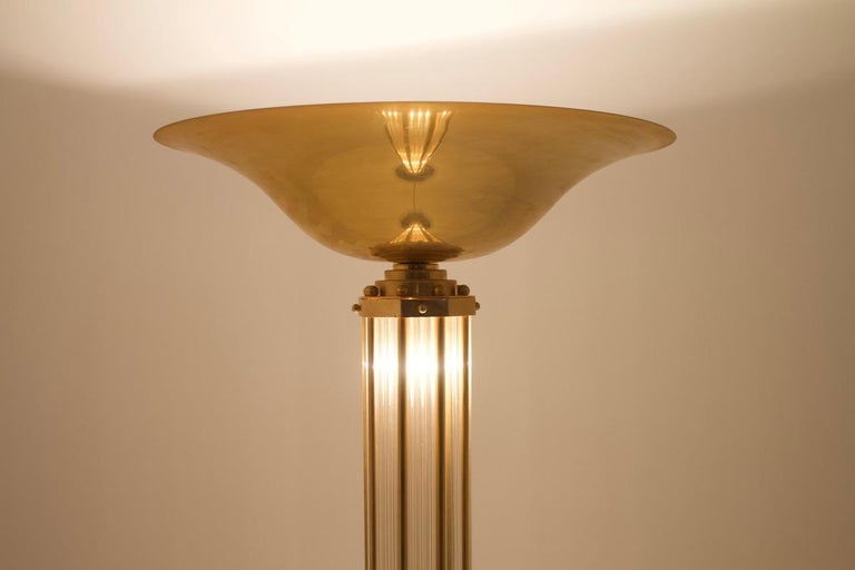 Brass and Glass Halogen Floor Lamp, Torchiere, France, 1980s