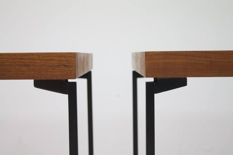 One of Three Teak and Metal Side or End Tables Germany 1950s Nightstands