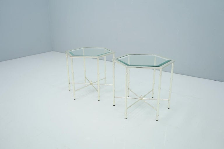 Pair of Silvered Hexagonal Side Tables, 1970s