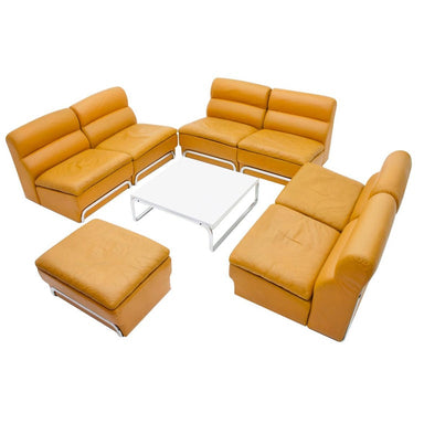 Modular Sofa Set & Table Light Brown Leather by Horst Bruning for Kill 1970s