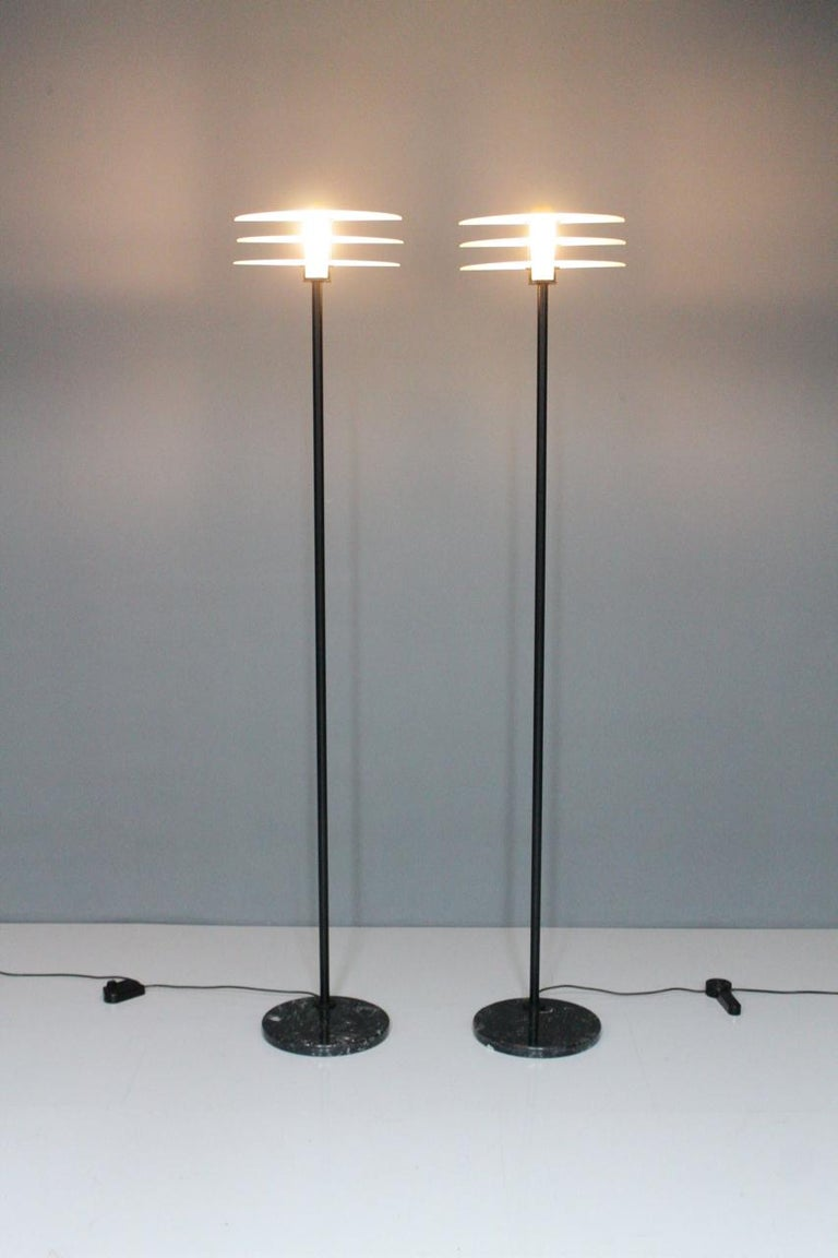Pair of Tall Floor Lamps with Black Marble Base, Metal and Glass, Italy, 1990s