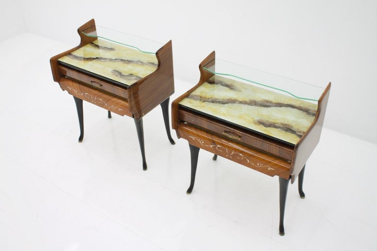 Pair of Bed Side Tables Night Stands with Horse Legs, Italy, 1959