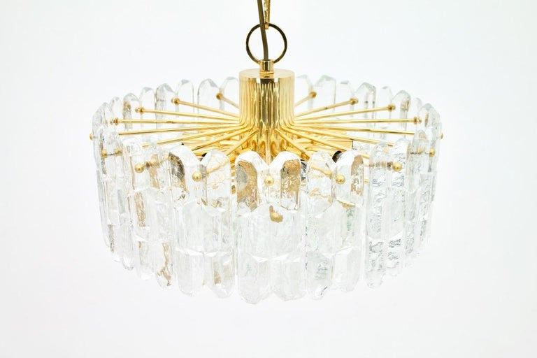 Kalmar Chandelier Palazzo Gilt Brass and Glass Austria, 1970s