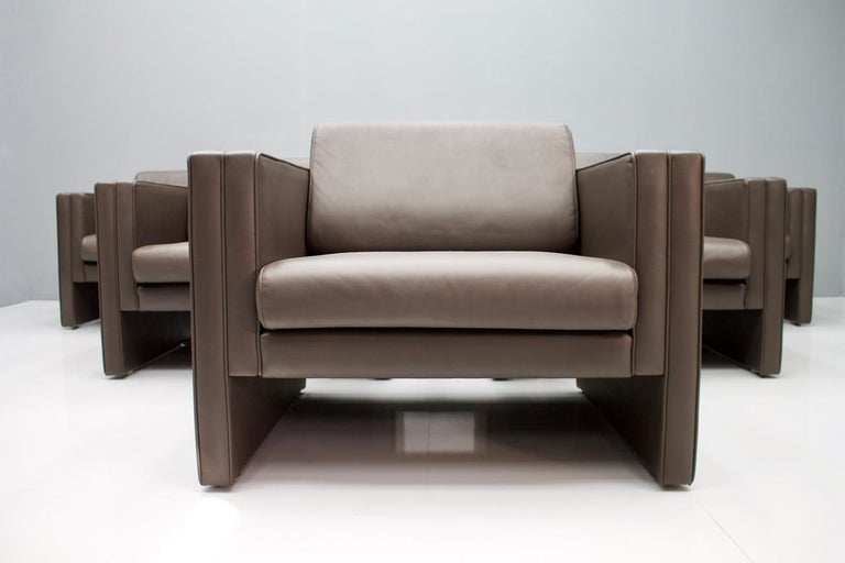 Walter Knoll Studio Dark Brown Leather Lounge Chairs, 1975