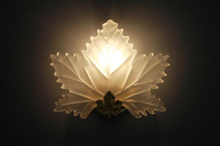 One of Five Leaf Glass and Brass Wall Sconces Lights Italy 1970s