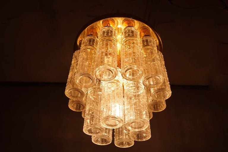One of Two Limburg Flushmount Chandeliers in Brass and Glass, Germany, 1970s
