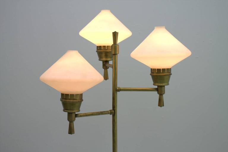 Italian Floor Lamp, Glass & Brass, ca. 1960s