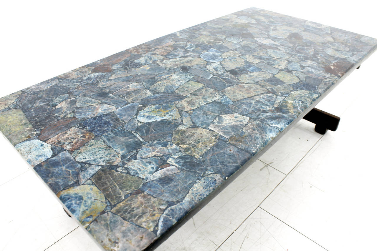 Rare Sergio Rodrigues Coffee Table with Apatit Stone Mosaic Top, Brazil 1964