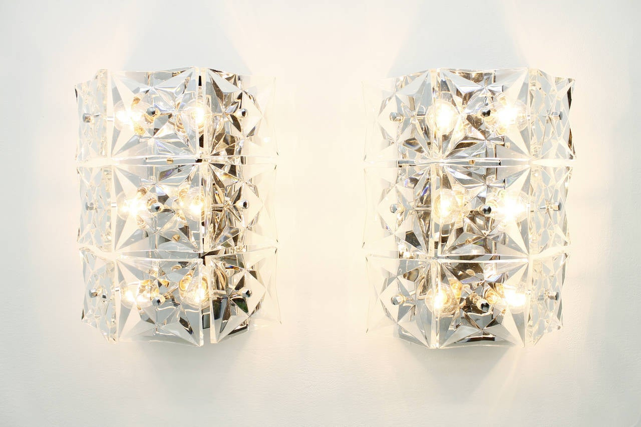 Pair of Large Crystal Glass Wall Lights by Kinkeldey, circa 1960s