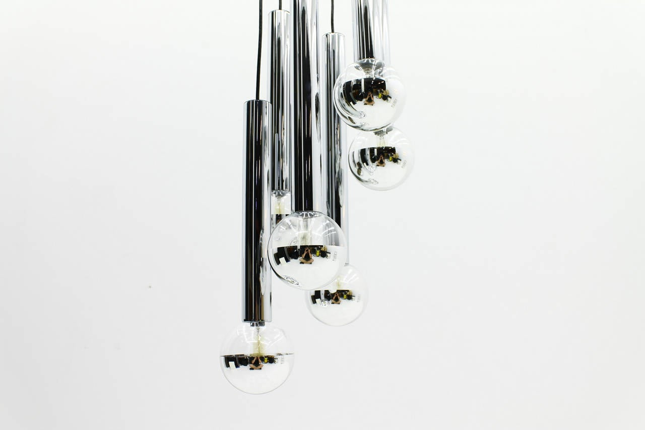 Chrome and Glass Cascade Chandelier by Motoko Ishii for Staff, 1970s