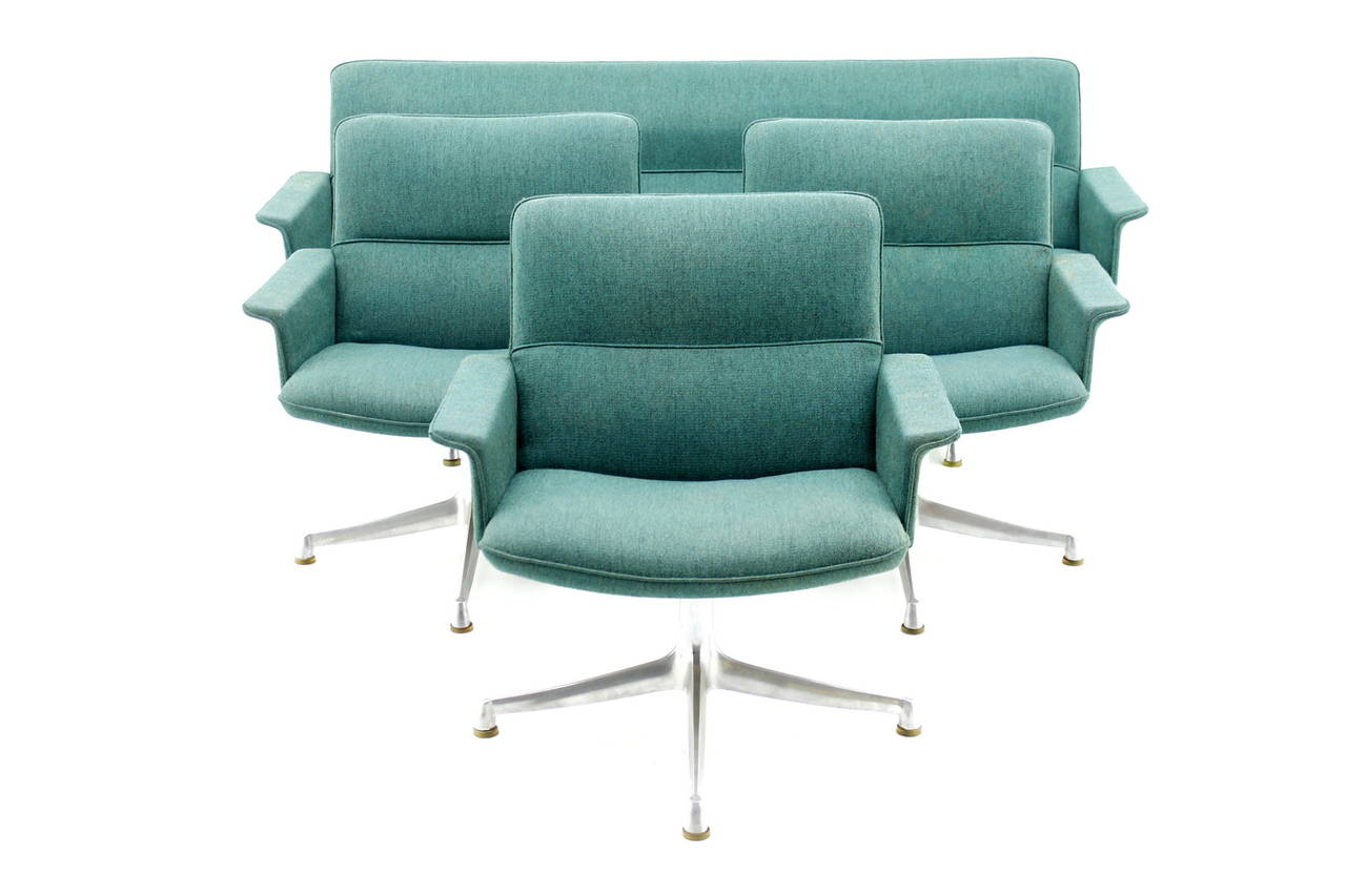 Seating Group with Sofa and Three Lounge Chairs, France, circa 1960s