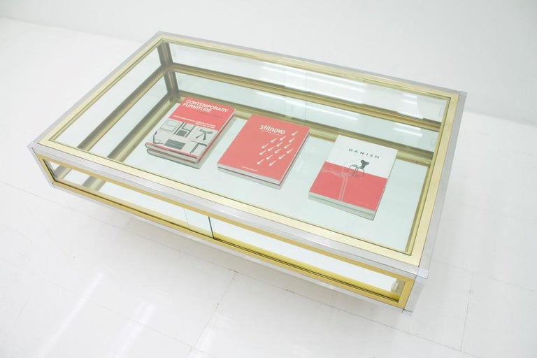 Vitrine Coffee Table in Chrome, Brass and Glass, France 1970s