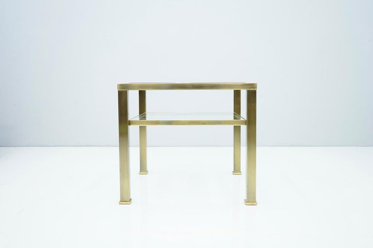 Brass and Glass Side Table in Style of Maison Jansen, France, 1970s