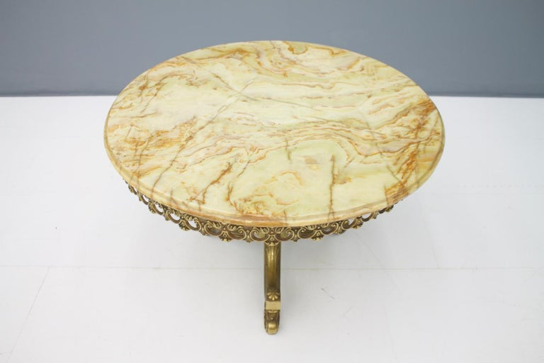 Italian Side Table Marble with Brass Base by Orsenigo Furniture, Italy, 1960s