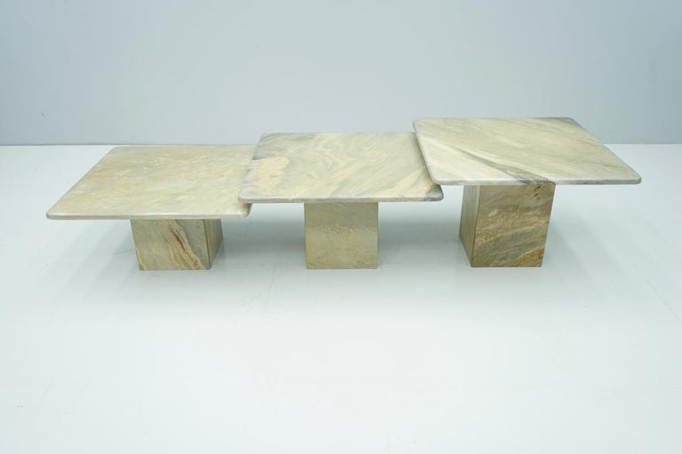 Set of Three Marble Side Tables Coffee Table, 1970s
