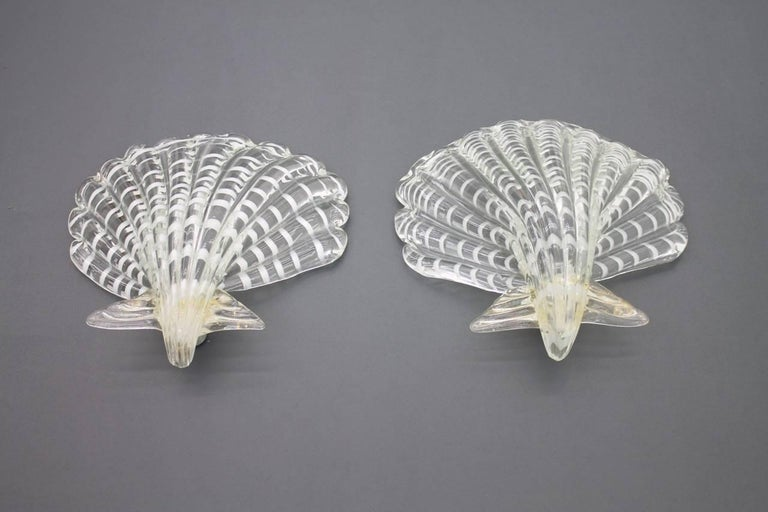Pair of Murano Glass Shell Wall Lights, Italy 1960s