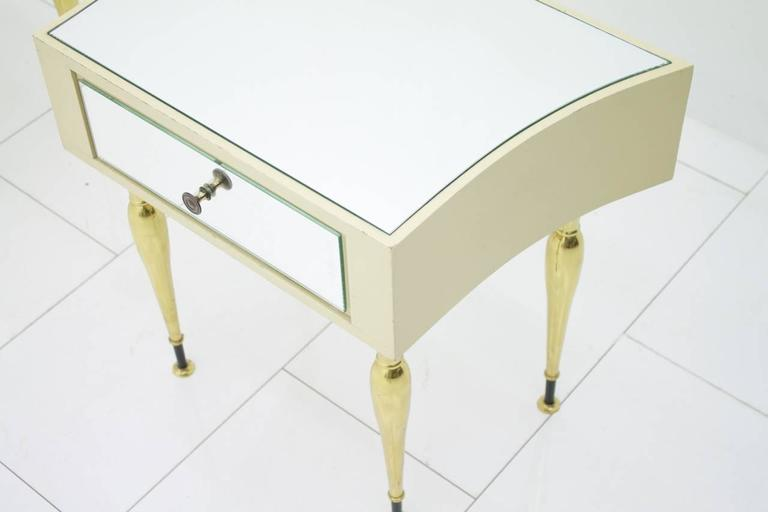 Pair of Nice Night Stands with Brass Mirror and Lacquered Wood, Germany 1960s