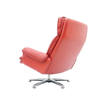 Norwegian Swivel Lounge Chair in Red Leather 1970s