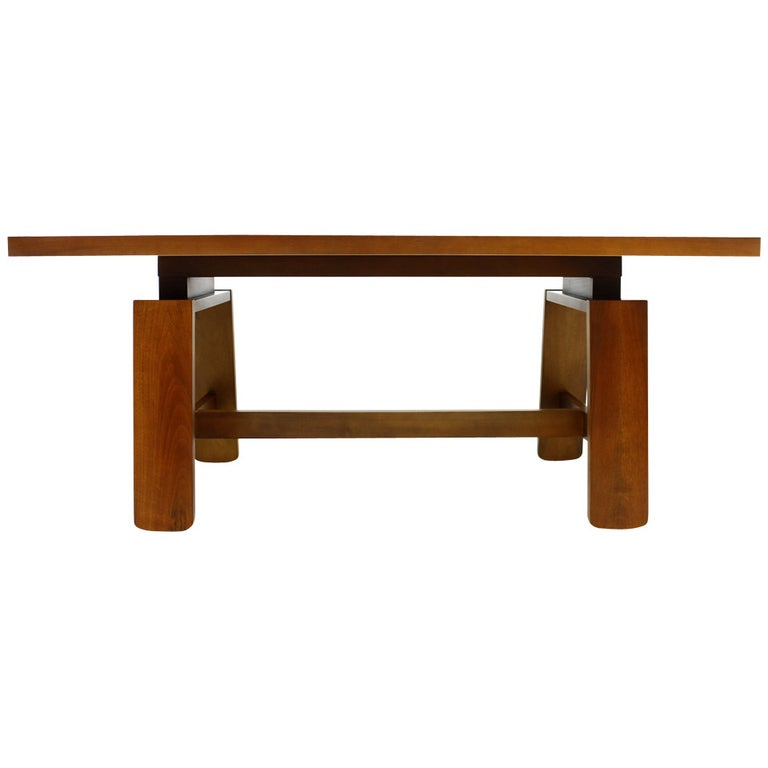 Mahogany Dining Table with Ceramic Bowl by Silvio Coppola Bernini Italy 1960.table, 60s, italian modern, vintage, modern,