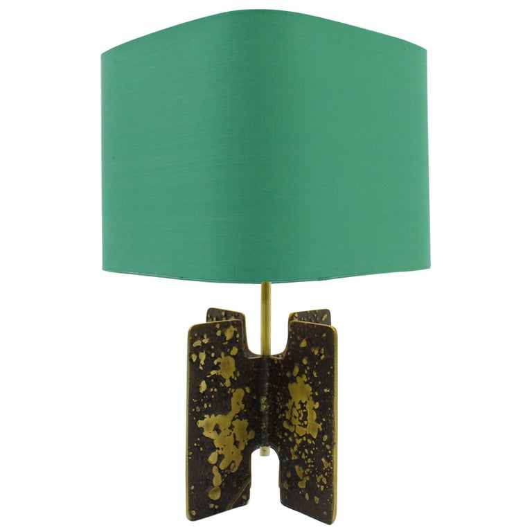 brutalist, table lamp, interior, vinatge, greem brown, brass, france, modern, 60s,