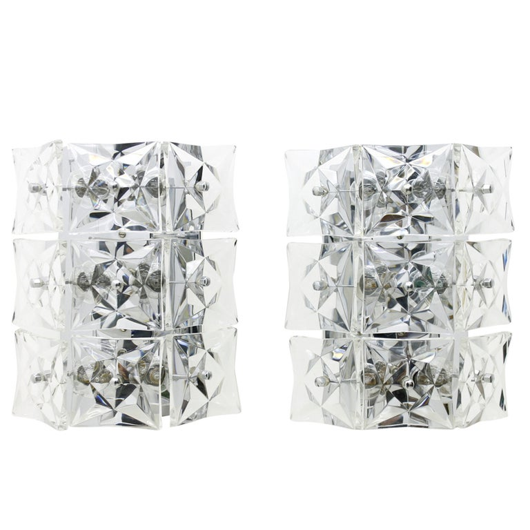 wall lights, glass, kinkeldey, crystal, lights, wall sconces, germany, 60s, vintage, interior