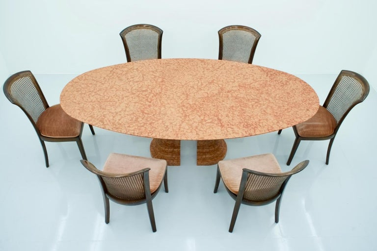 Large Oval Dining Table in Red Rosso Asagio Marble, Italy