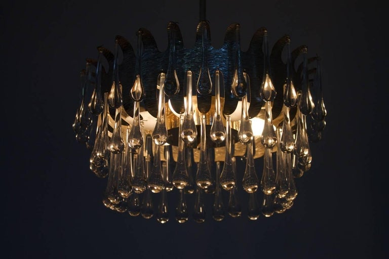Silvered Chandelier with Glass Drops by Palwa, Germany, 1960s