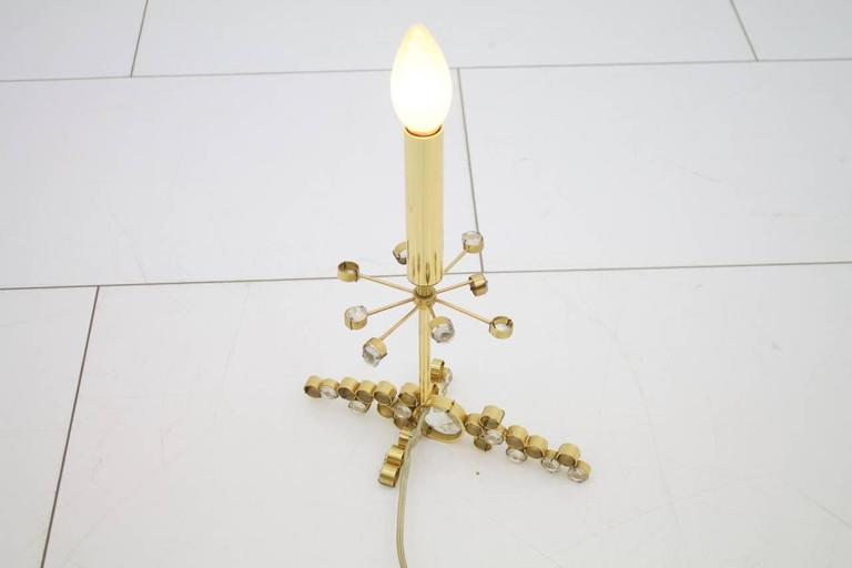 Palwa Table Lamp with Crystal Glass and Gilded Brass Germany, 1960s