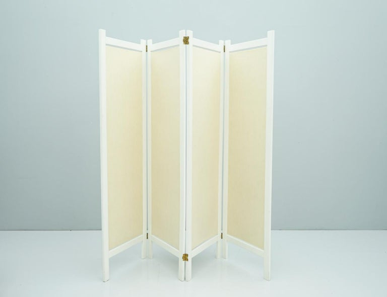 White Wood and Fabric Screen Paravent Room Divider, France, 1990