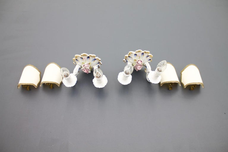 Pair of Mangani Porcelain Wall Sconces Lights Italy 1960s