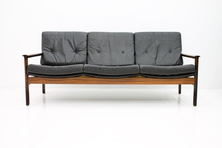 Scandinavian Three-Seat Sofa in Wood and Leather 1960s