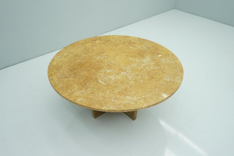 Circular Brown Marble Coffee Table, 1970s