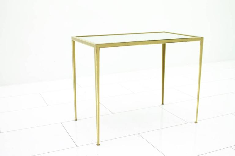 Brass and Mirror Side Table by Münchner Werkstätten, Germany 1960s