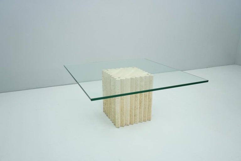 Side or Coffee Table in Travertine and Glass Carlo Scarpa, Italy, 1970s