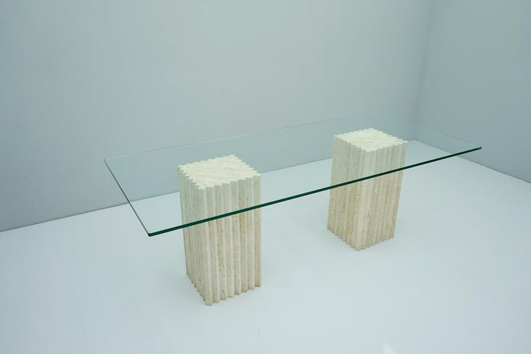 Travertine and Glass Dining Table Carlo Scarpa, Italy, 1970s