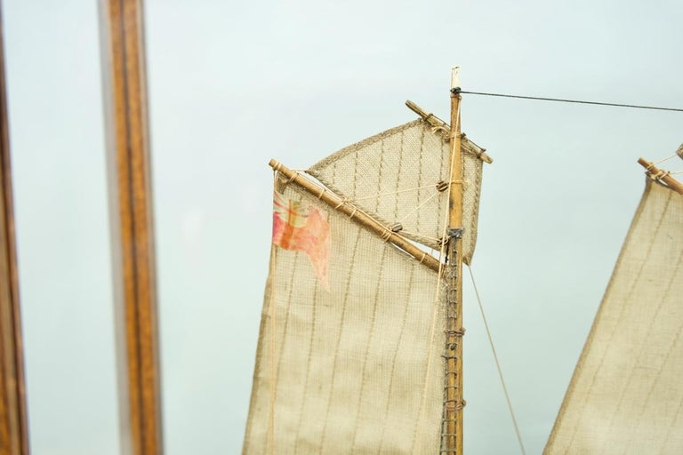 Model Ship in a Glass Case with Teak Frame, France 1960s 'A'