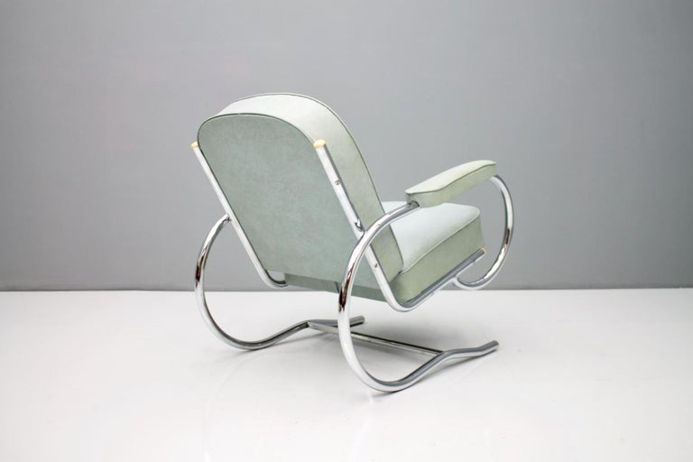 Rare Batistin Spade Tubular Lounge Chair, France, 1930s