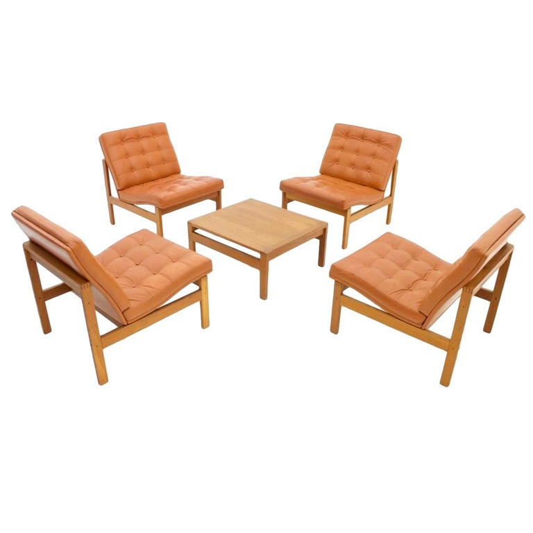 Torben Lind and Ole Gjerlov Modular Seating Group Chairs Sofa for France & Son, teak, leather, cognac, brown, 60s, 70s