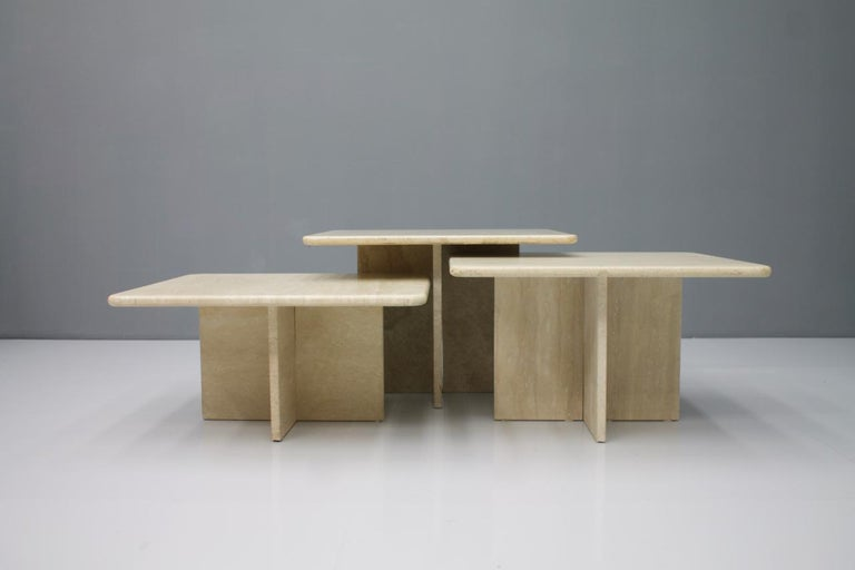 Set of Three Travertine Side or Coffee Tables, Italy, 1970s