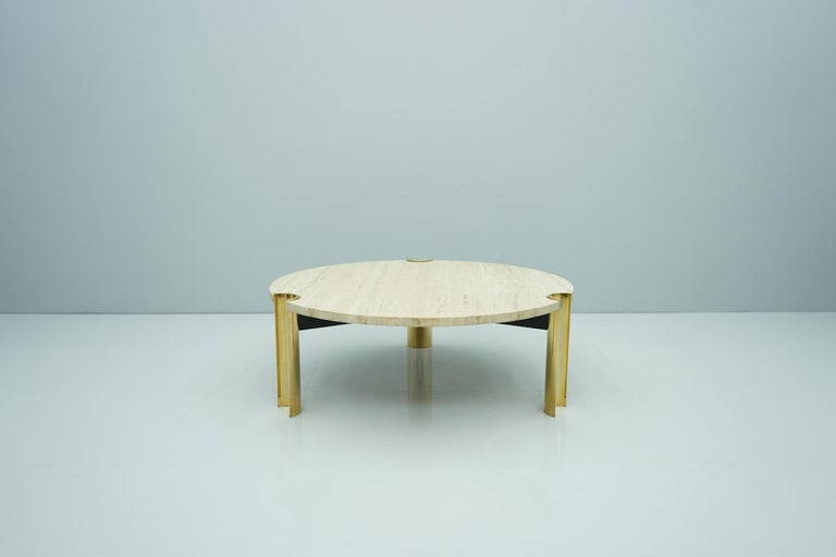 Circular Travertine Coffee Table with Brass-Plated Base, Germany 1970s