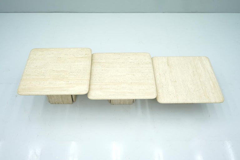 Set of Three Low Travertine Side or Coffee Tables, Italy, 1970s