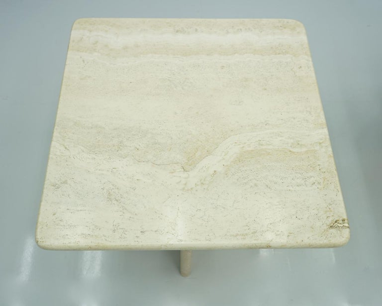 Pair of Travertine Side or Coffee Tables, Italy, 1970s