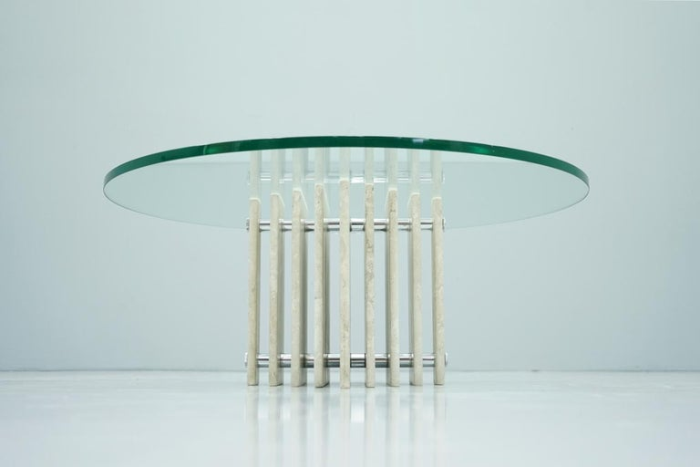 Sculptural Circular Travertine Coffee Table with a Glass Top, 1970