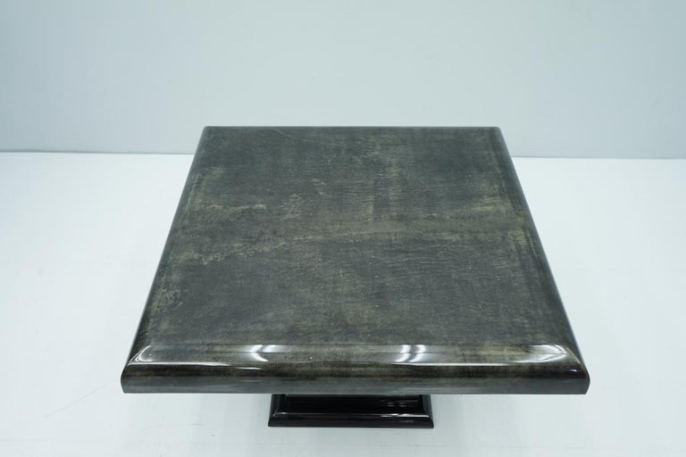 Black Goatskin Side or Coffee Table by Aldo Tura, Italy, 1980s