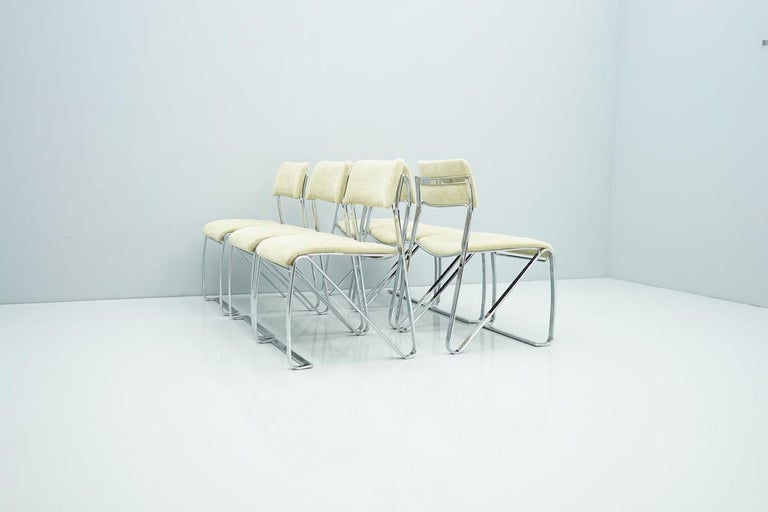 Beautiful Set of Six Dining Chairs in Chrome and Velvet, Italy, 1970s