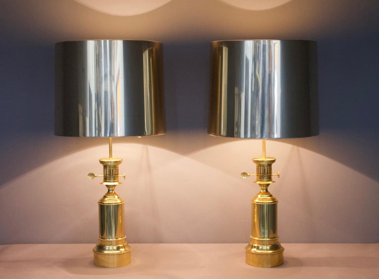 Pair of Large Brass Table Lamps by Vereinigte Werkstätten Germany 1960s