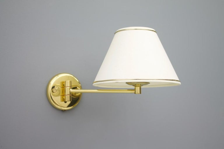 One of Ten Swing Wall Lights in Brass, 1970s