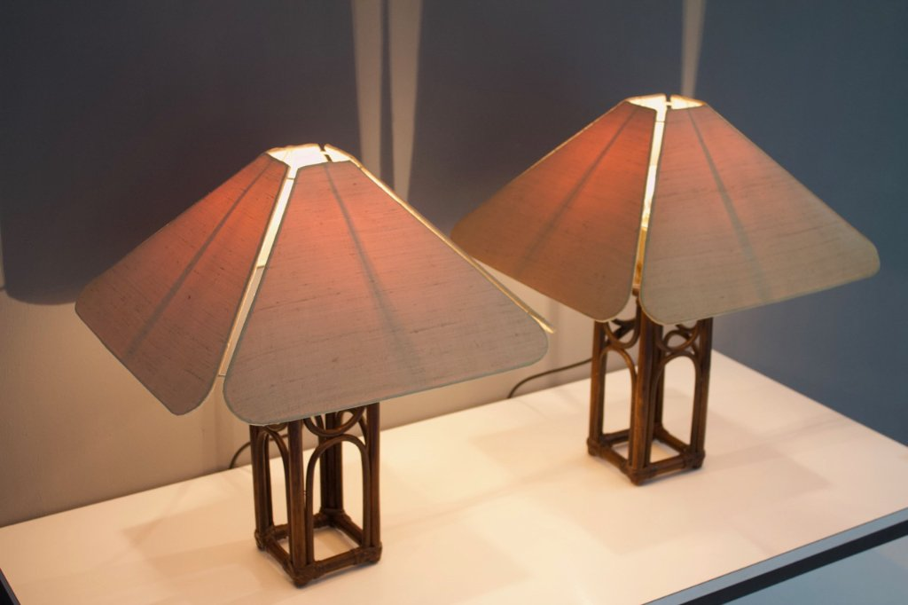 Pair of Bamboo Table Lamps 1970s