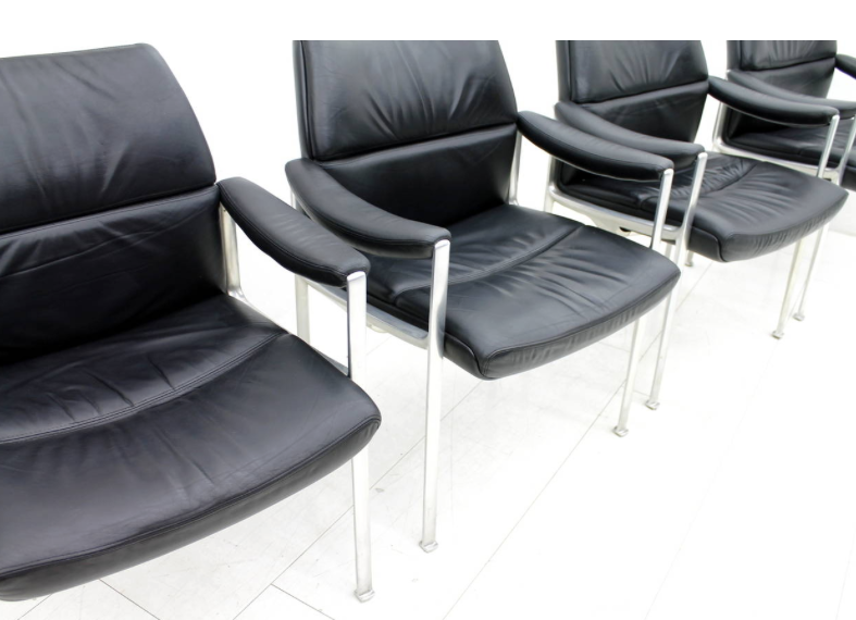 4x Conference Chairs, Leather & Aluminum, ca. 1970`s